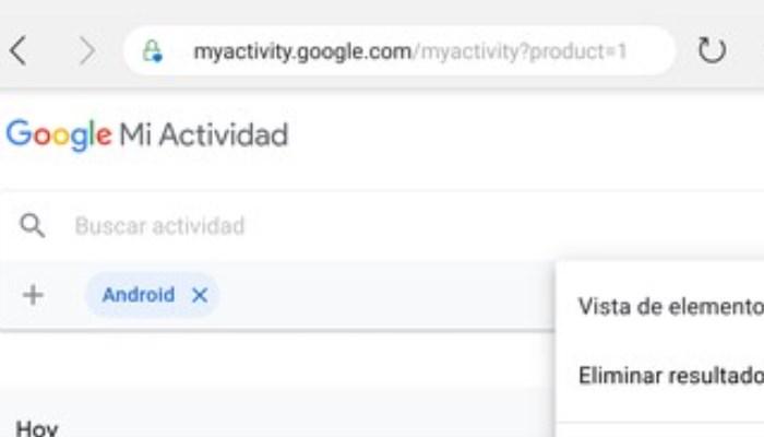 Para eliminar historial en Android